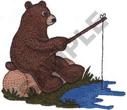 BEAR FISHING embroidery design