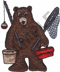 BEAR WITH FISHING EQUIPMENT embroidery design