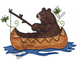 BEAR FISHING IN A CANOE embroidery design