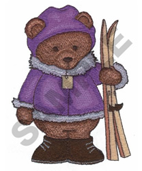 TEDDY BEAR SKIING embroidery design