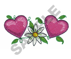 DAISY WITH HEARTS embroidery design
