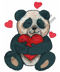PANDA WITH HEART embroidery design