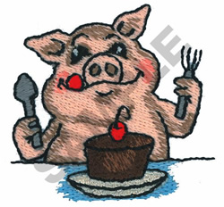 PIG EATING embroidery design