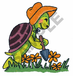TURTLE IN THE GARDEN embroidery design