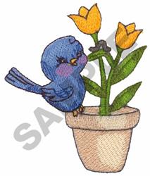 BIRD ON FLOWER POT embroidery design