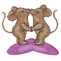 KISSING MICE embroidery design