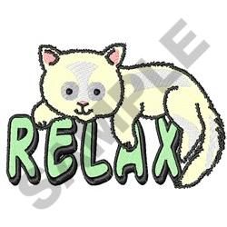 WHITE CAT RELAX embroidery design