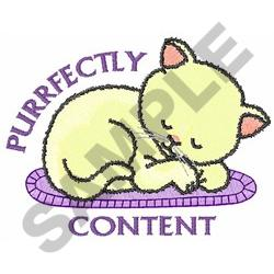 PURRFECTLY CONTENT embroidery design