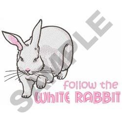 FOLLOW THE WHITE RABBIT embroidery design