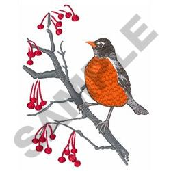 ROBIN AND BERRIES embroidery design