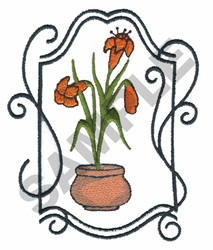 POT OF LILLIES WITH FRAME embroidery design