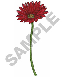 RED GERBER DAISY embroidery design