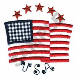 USA AMERICAN FLAG AND STARS embroidery design