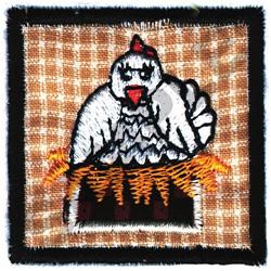 CHICKEN QUILT APPLIQUE embroidery design
