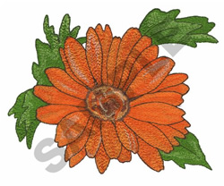DAISY WITH LEAVES embroidery design