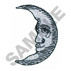 SAD MAN IN THE MOON embroidery design