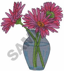 GERBER DAISIES IN VASE embroidery design