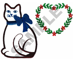 APPLIQUE CAT W/HEART embroidery design