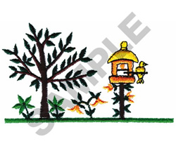 TREE AND BIRDHOUSE embroidery design
