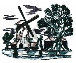 WINDMILL SCENE embroidery design