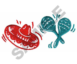 SOMBRERO AND MARACAS embroidery design