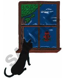 WINDOW SCENE (PLASTIC APPLIQUE) embroidery design