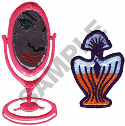 MIRROR AND PERFUME BOTTLE embroidery design