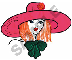 GIRL IN WIDE BRIM HAT embroidery design