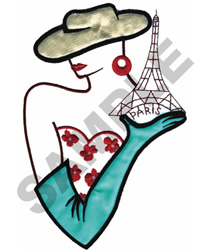FRENCH WOMAN W/EIFFEL TOWER embroidery design