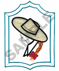 FRAMED WOMEN IN HAT embroidery design