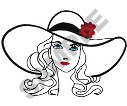 WOMAN IN WIDE BRIM HAT embroidery design