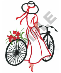 WOMAN ON BICYCLE embroidery design