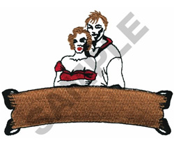 COUPLE WITH BANNER embroidery design