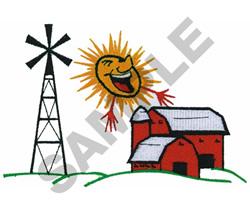 BARN, SILO, & WINDMILL IN SUN embroidery design