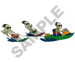 ANIMATED WATER SKIERS embroidery design