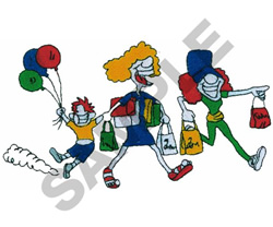ANIMATED BARGAIN SHOPPERS embroidery design