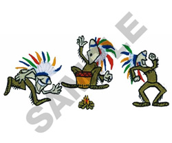ANIMATED POW WOW embroidery design