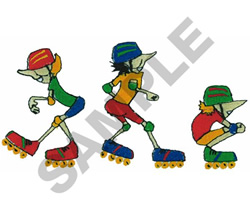 ANIMATED ROLLERBLADERS embroidery design