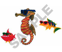COOL SEAHORSE AND FISH embroidery design