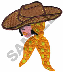 WOMAN IN HAT embroidery design