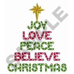 Joy Love Peace Christmas embroidery design