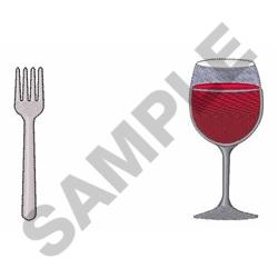 Wine And Fork embroidery design