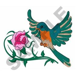 Bird And Rose embroidery design