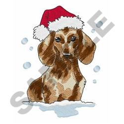 Dachshund In Snow embroidery design