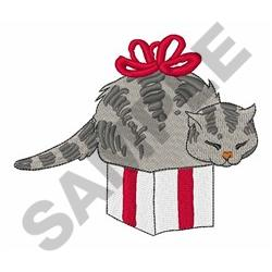 Cat In Present embroidery design