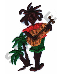 ANIMATED JAMAICAN GUITAR PLAYER embroidery design
