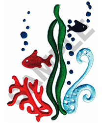 CORAL AND FISH(PUFFY FOAM) embroidery design