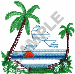 SUNSET WITH PALM TREES embroidery design