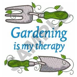 GARDENING IS MY THERAPY embroidery design