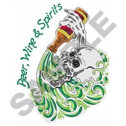 BEER WINE AND SPIRITS embroidery design